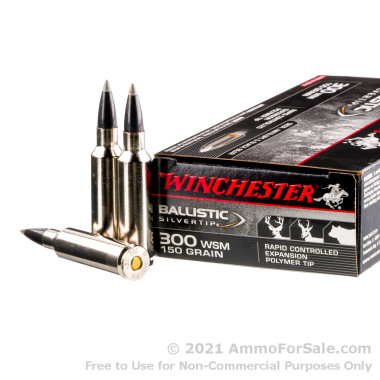 20 Rounds of 150gr Polymer Tipped 300 Win Short Mag Ammo by Winchester Ballistic Silvertip