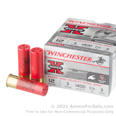 "25 Rounds of 3"" 1 1/4 ounce #3 shot 12ga Ammo by Winchester Super-X"