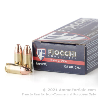 50 Rounds of 124gr CMJ 9mm Ammo by Fiocchi