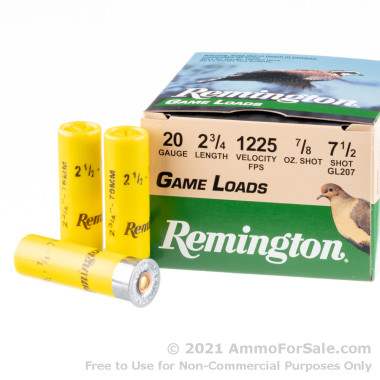 250 Rounds of 7/8 ounce #7 1/2 shot 20ga Ammo by Remington