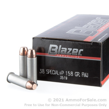 1000 Rounds of 158gr FMJ .38 Spl +P Ammo by Blazer