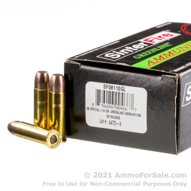 50 Rounds of 110gr Frangible .38 Spl Ammo by SinterFire GreenLine