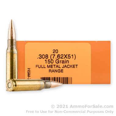 20 Rounds of 150gr FMJBT 7.62x51 Ammo by HSM