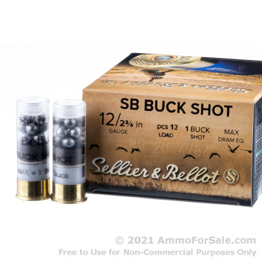 """250 Rounds of 2-3/4"""" 1 1/8 ounce #1 Buck 12ga Ammo by Sellier & Bellot"""