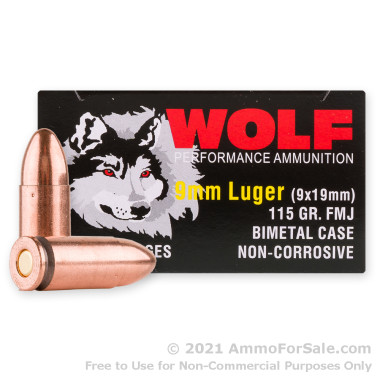 1350 Rounds of 115gr FMJ 9mm Ammo by Wolf **STEEL CASES**