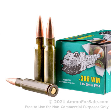 20 Rounds of 145gr FMJ .308 Win Ammo by Brown Bear