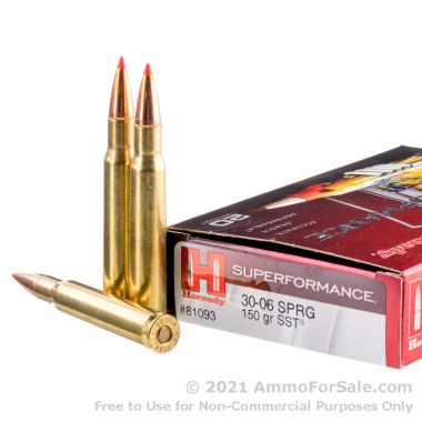 20 Rounds of 150gr SST 30-06 Springfield Ammo by Hornady