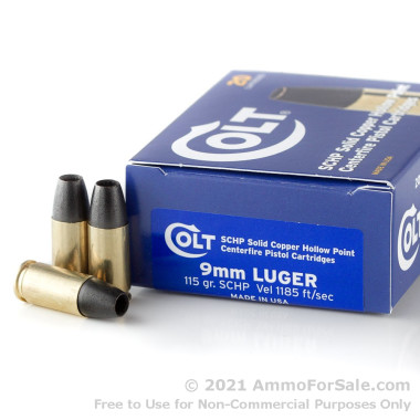 20 Rounds of 115gr SCHP 9mm Ammo by Colt