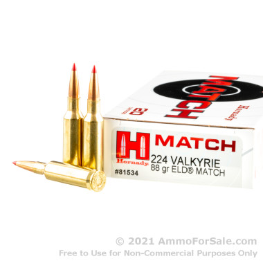 200 Rounds of 88gr ELD Match .224 Valk Ammo by Hornady