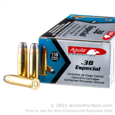 50 Rounds of 158gr SJHP .38 Spl Ammo by Aguila
