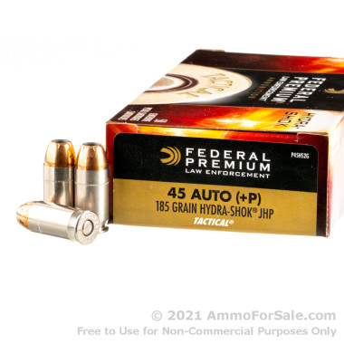 50 Rounds of 185gr JHP .45 ACP +P Ammo by Federal