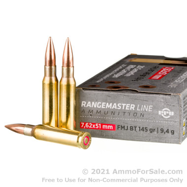 20 Rounds of 145gr FMJBT 7.62x51 Ammo by Prvi Partizan