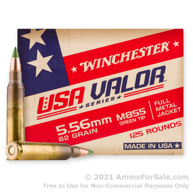 125 Rounds of 62gr FMJ M855 5.56x45 Ammo by Winchester