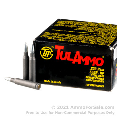 100 Rounds of 55gr HP .223 Ammo by Tula