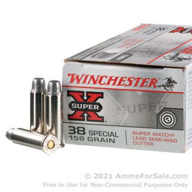 50 Rounds of 158gr LSWC .38 Spl Ammo by Winchester Super-X