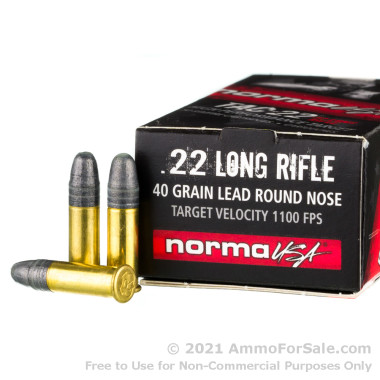 500 Rounds of 40gr LRN .22 LR Ammo by Norma Tac-22