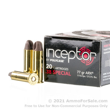 20 Rounds of 77gr ARX .38 Spl Ammo by Polycase Inceptor