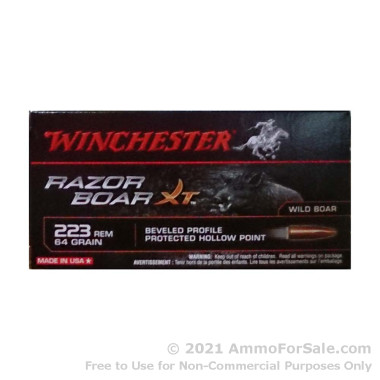 20 Rounds of 64gr JHP .223 Ammo by Winchester Razor Boar XT