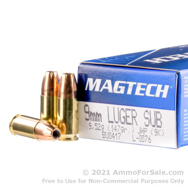 50 Rounds of 147gr JHP 9mm Ammo by Magtech
