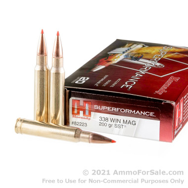 20 Rounds of 200gr SST Polymer Tipped .338 Win Mag Ammo by Hornady Superformance