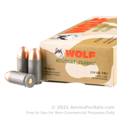 50 Rounds of 230gr FMJ .45 ACP Ammo by Wolf
