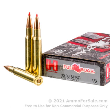 20 Rounds of 165gr GMX 30-06 Springfield Ammo by Hornady
