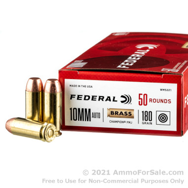 50 Rounds of 180gr FMJ 10mm Ammo by Federal