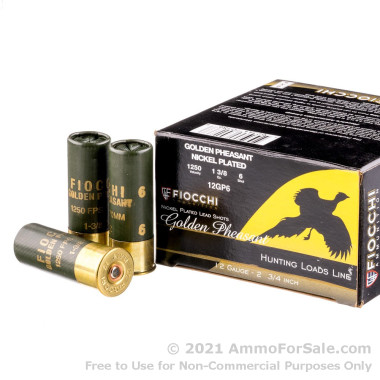 250 Rounds of 1 3/8 ounce #6 shot 12ga Ammo by Fiocchi