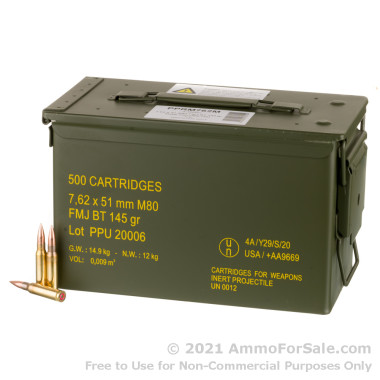 500 Rounds of 145gr FMJBT 7.62x51 Ammo in Ammo Can by Prvi Partizan