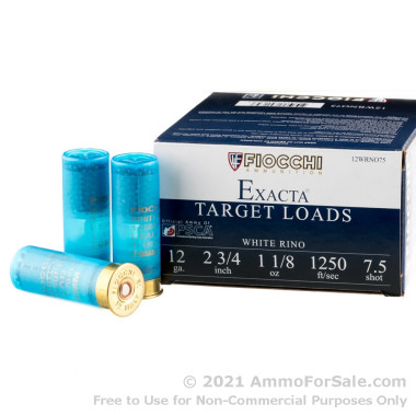 "25 Rounds of 2-3/4"" 1 1/8 ounce #7 1/2 shot 12ga Ammo by Fiocchi White Rino"