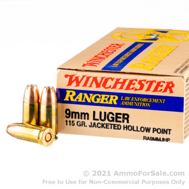 50 Rounds of 115gr JHP 9mm Ammo by Winchester