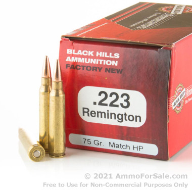 1000 Rounds of 75gr Heavy Match HP .223 Rem Ammo by Black Hills Ammunition