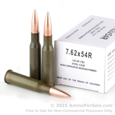 20 Rounds of 148gr FMJ 7.62x54r Ammo by Wolf