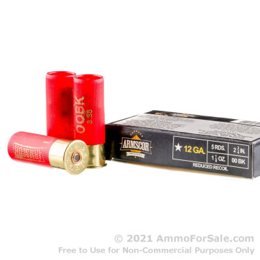 5 Rounds of 1 1/8 ounce 00 Buck 12ga Ammo by Armscor