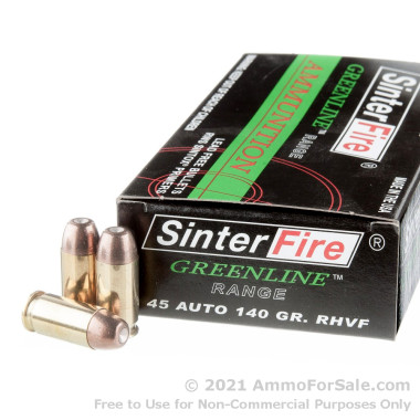 50 Rounds of 140gr Frangible .45 ACP Ammo by Sinterfire