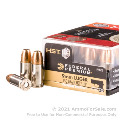 200 Rounds of 150gr HST JHP 9mm Ammo by Federal
