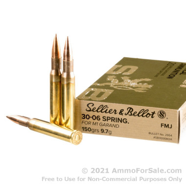 20 Rounds of 150gr FMJ 30-06 Springfield M1 Garand Ammo by Sellier & Bellot
