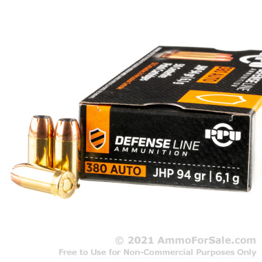 50 Rounds of 94gr JHP .380 ACP Ammo by Prvi Partizan