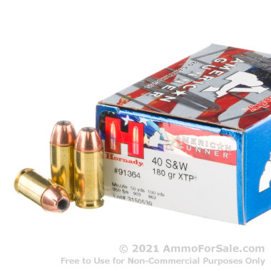 20 Rounds of 180gr XTP JHP .40 S&W Ammo by Hornady