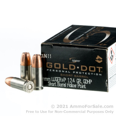 20 Rounds of 124gr JHP 9mm Ammo by Speer