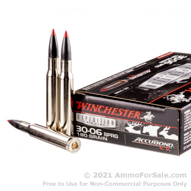 20 Rounds of 180gr Polymer Tipped 30-06 Springfield Ammo by Winchester AccuBond CT