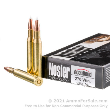 20 Rounds of 130gr Polymer Tipped .270 Win Ammo by Nosler Trophy Grade Ammunition