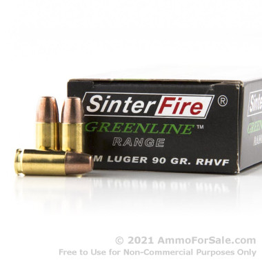 50 Rounds of 90gr Frangible 9mm Ammo by Sinterfire
