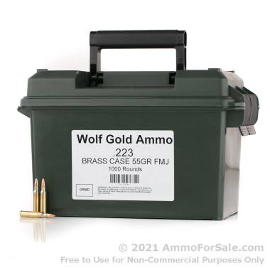 1000 Rounds of 55gr FMJ .223 Ammo by Wolf