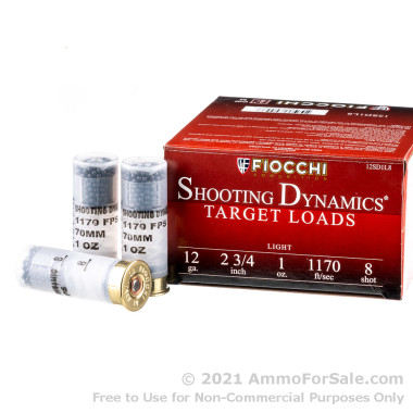 "25 Rounds of 2-3/4"" 1 ounce #8 shot 12ga Ammo by Fiocchi Target"