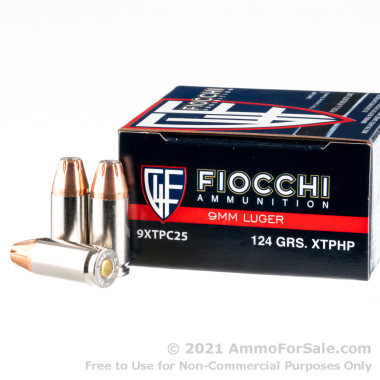 25 Rounds of 124gr JHP 9mm Ammo by Fiocchi