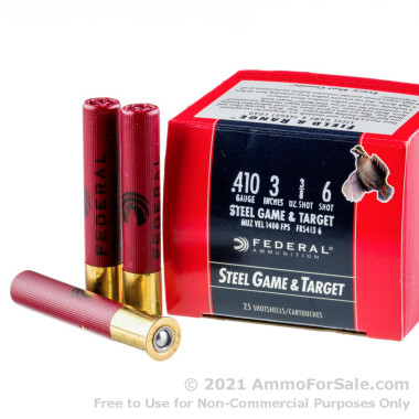 250 Rounds of  #6 shot .410 Ammo by Federal Steel Game & Target