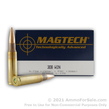 50 Rounds of 150gr FMJBT .308 Win Ammo by Magtech