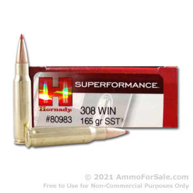 20 Rounds of 165gr SST .308 Win Ammo by Hornady