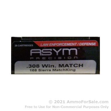 20 Rounds of 168gr HPBT .308 Win Ammo by ASYM Precision Ammunition
